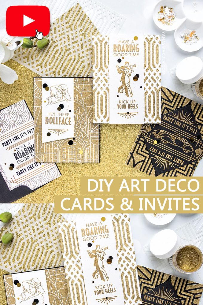 Hero Arts | February My Monthly Hero Kit - DIY Art Deco Greeting Cards & Invitations. Video (Blog Hop + Giveaway)