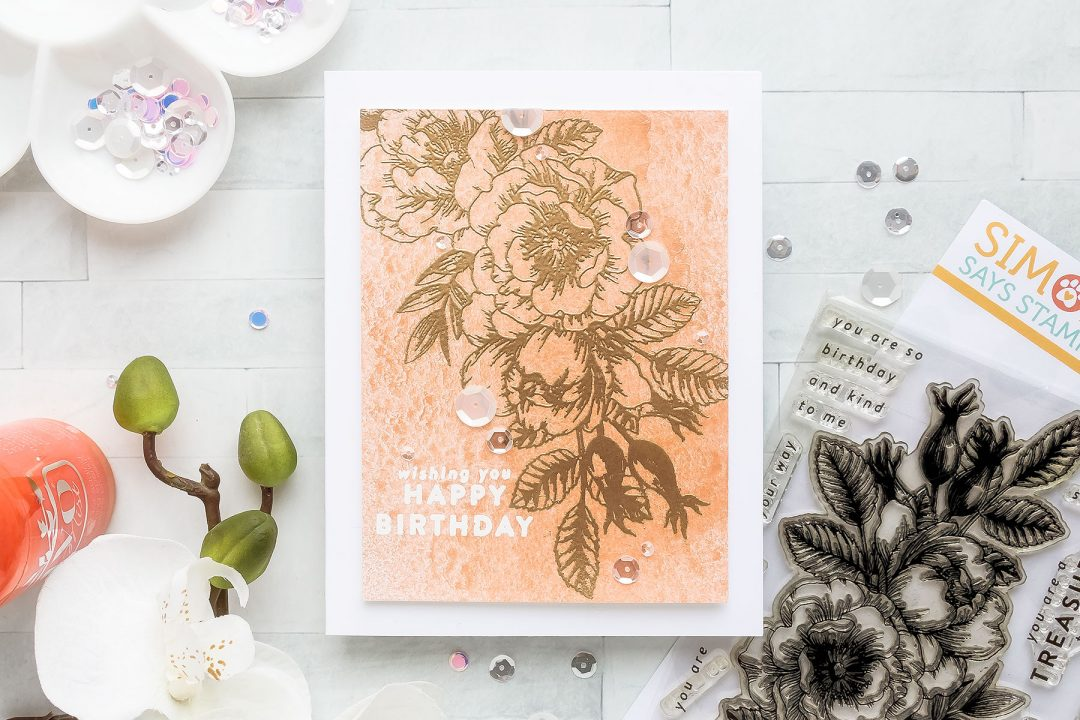 Simon Says Stamp | No-Coloring Floral Birthday Card with Mica Mist by Tonic Studios. Short Video tutorial by Yana Smakula