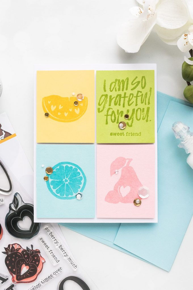 Simon Says Stamp | Color Blocking in Cardmaking - Take One - Grateful for You Fruit Card by Yana Smakula