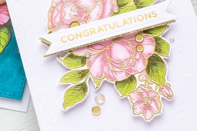 Spellbinders | Just Add Color collection by Stephanie Low. Dramatic Florals & Background with Copic Markers. Video tutorial by Yana Smakula. Congratulations Greeting Card