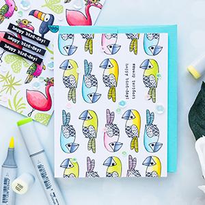 Flora & Fauna   Linear Pattern Stamping. Bird-Day Card. Photo Tutorial
