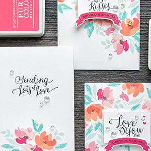 WPlus9 | Floral Valentines – Background Stamping 3 Ways