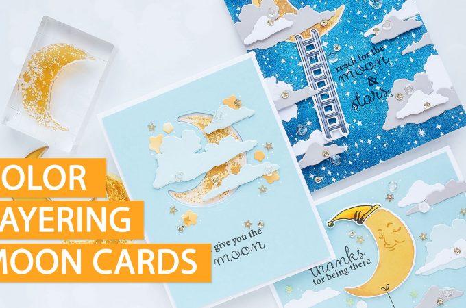 Hero Arts | Color Layering Moon Greeting Cards 3 Ways. Video tutorial by Yana Smakula. Handmade Moon Cards