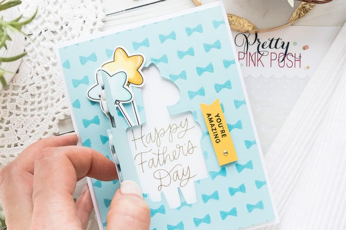 Hidden Panel Father's Day Greeting Card | Pretty Pink Posh | Video tutorial by Yana Smakula