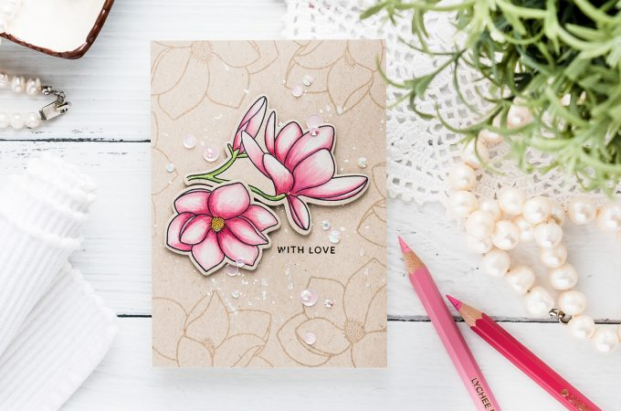 How to Color with Chameleon Dual Ended Color Pencils - 4Bar Magnolia Bloom Greeting Card with Pretty Pink Posh stamps. Video tutorial by Yana Smakula