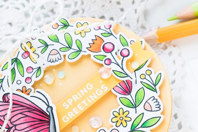Pretty Pink Posh   Shaped Spring Wreath Card. Video tutorial by Yana Smakula