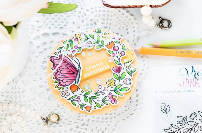 Pretty Pink Posh | Shaped Spring Wreath Card. Video tutorial by Yana Smakula