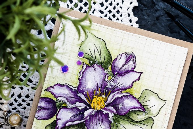 Simon Says Stamp | Watercolor Clematis Card for Mom. Video tutorial by Yana Smakula. How to watercolor clematis.