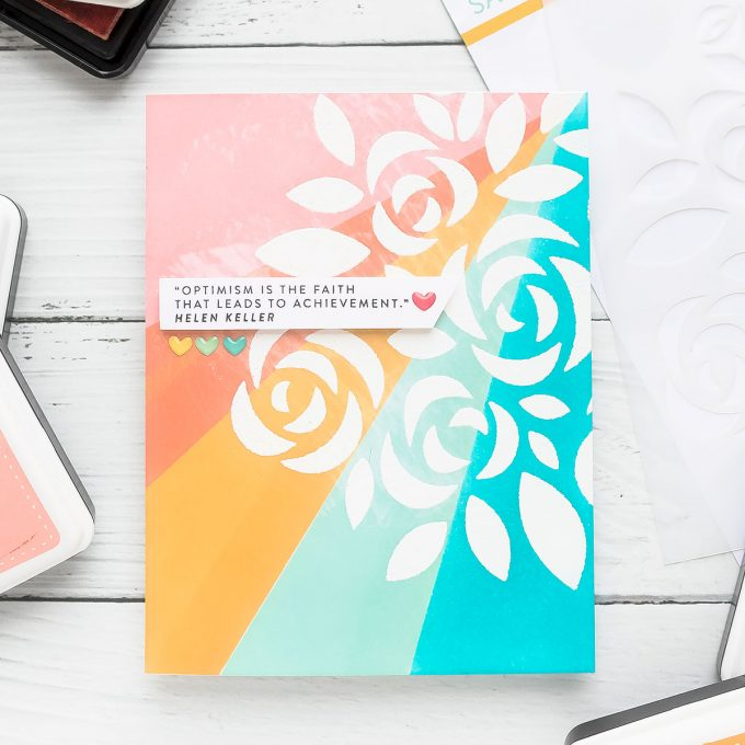 "Simon Says Stamp | Ink Blended Encouragement Card - ""Optimism is faith that leads to achievement"". Handmade card using Bouquet of Roses stencil"