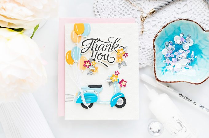 Spellbinders | May 2019 Small Die of the Month - Thank You Vespa Card. Video tutorial by Yana Smakula