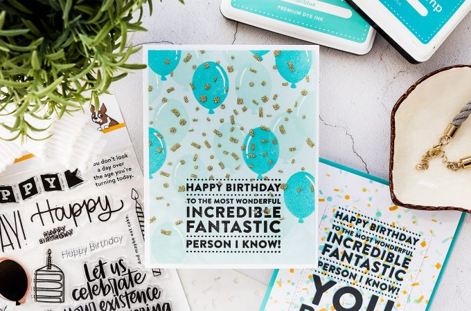 Need to make a quick Birthday card for a guy? Check out this simple & quick tutorial featuring Masculine Birthday Card idea using balloons and confetti with the help of Big Birthday Greetings stamp set from Simon Says Stamp. Handmade greeting card by Yana Smakula