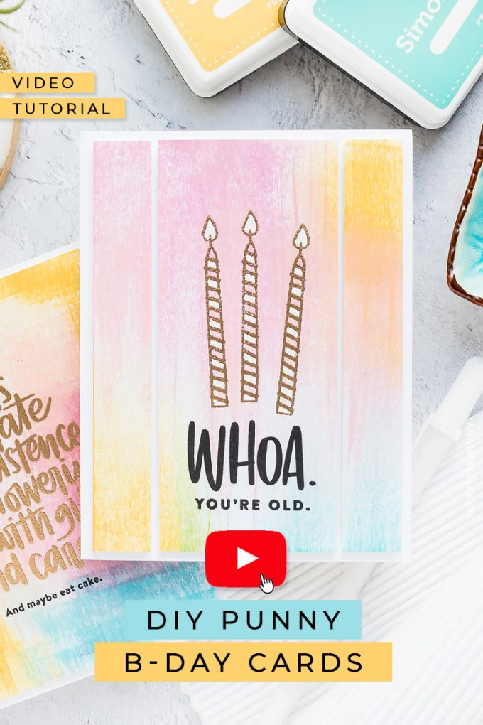 Create DIY punny birthday cards for friends using inks & stamps by Simon Says Stamp! Watch video tutorial for the how-to!