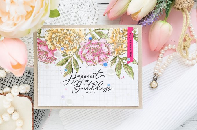 Create a gorgeous watercolor floral Birthday card using stamps from Simon Says Stamp and watercolors from Daniel Smith. No specialty watercolor paper needed! Visit the blog for how-to. #simonsaysstamp #birthdaycard #greetingcard