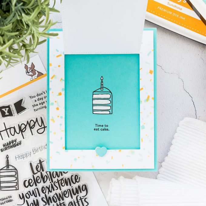 How to make Flip Up Masculine Birthday card using Big Birthday Wishes stamp set and Confetti stencil from Simon Says Stamp. Watch video tutorial for the how-to.