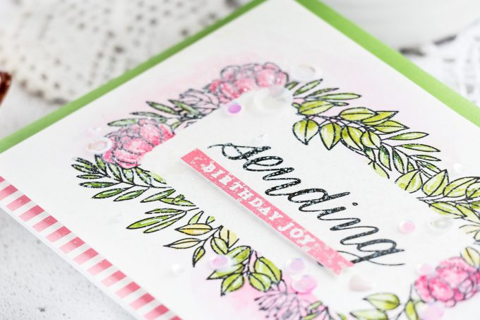 Simon Says Stamp June 2019 Card Kit - Sending Birthday Joy Handmade Greeting Card by Yana Smakula #sssck #cardmaking #simonsaysstamp