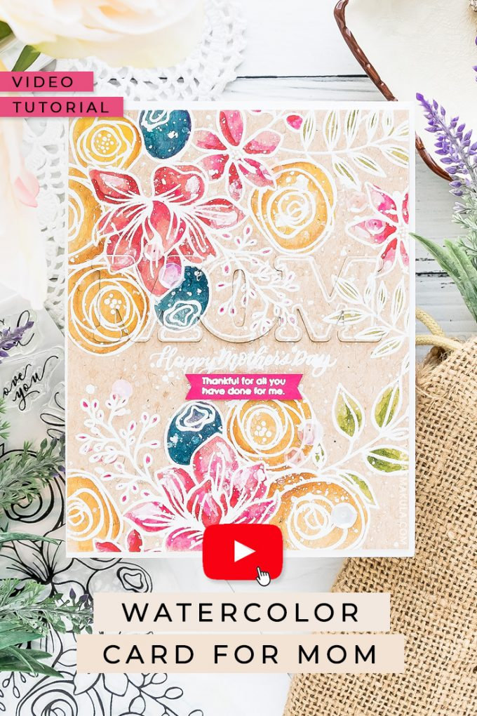 Watercolor Mother's Day Card | Simon Says Stamp | Video tutorial by Yana Smakula