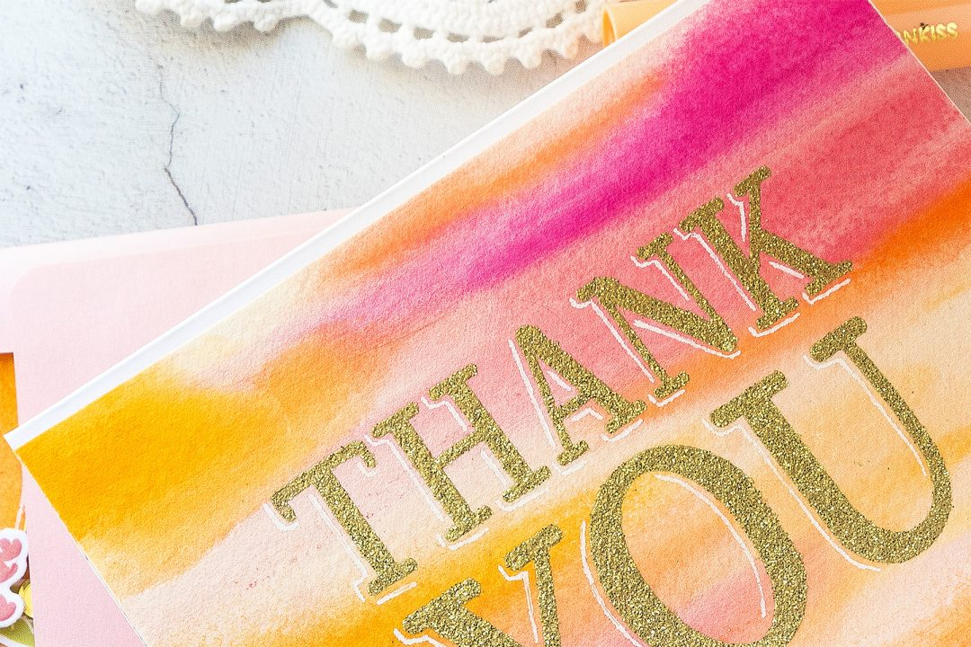Simon Says Stamp | Abstract Watercolor Backgrounds with ColorSticks - Thank You Card. How to use ColorSticks to create colorful watercolor background for handmade cards