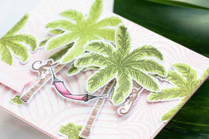 Hero Arts | Color Layering Palm Trees 3 Ways. Video tutorial by Yana Smakula #cardmaking #heroarts #greetingcard