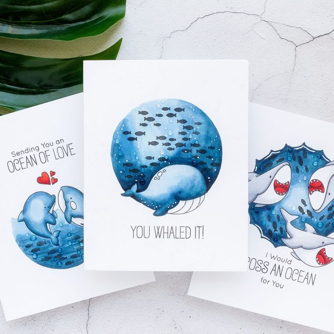My Favorite Things | One Layer Underwater Scene Cards with Nothing but Markers (and critter stamps, too). Video tutorial featuring Friends with Fins Stamp Set. #cardmaking #stamping #summercards
