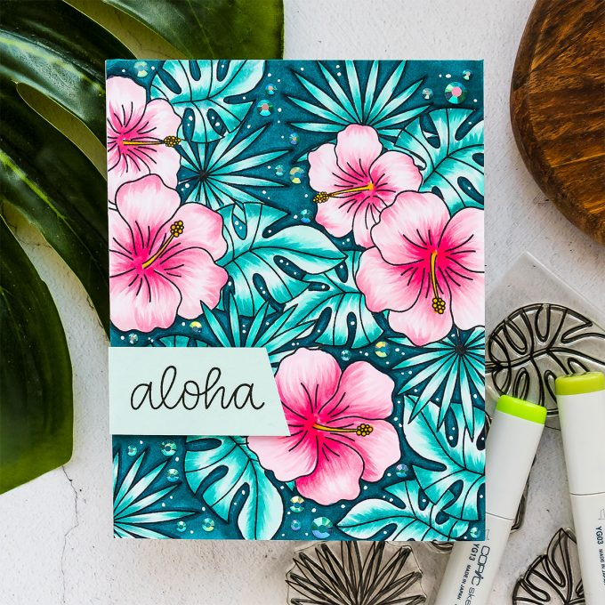 How to Stamp Tropical Patterns for Handmade Cards with Pretty Pink Posh & Copic Markers. Video tutorial by Yana Smakula. Pattern stamping tips & tricks.