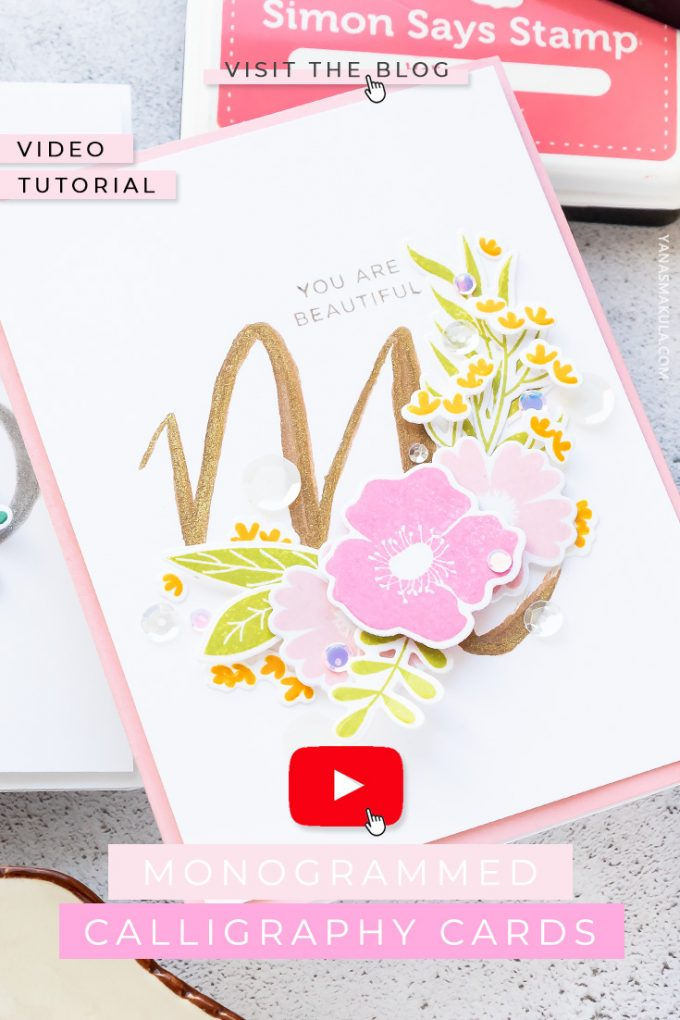 Simon Says Stamp | Beginner Calligraphy - Monogrammed Cards How To using a Jane Davenport Silver and gold Brush pens. Video tutorial.