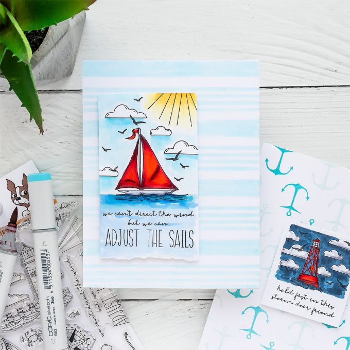 Simon Says Stamp | More Nautical Encouragement Cards - We cannot direct the wind but we can adjust the sails