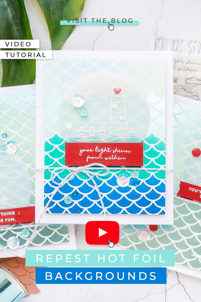 Simon Says Stamp | Hot Foil Backgrounds Made Easy - Repeat Foiled Backgrounds with Glimmer Plates. Watch this video tutorial for how-to featuring Jane Davenport Mermaids Forever Glimmer plate and Simon Says Stamp Your Light Stamp Set #cardmaking #simonsaysstamp #glimmerhotfoilsysstem