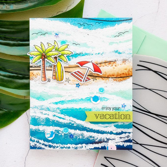 Simon Says Stamp | Simple Watercolor Waves With Background Stamping