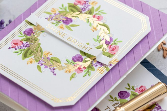 Spellbinders | Layered Ink Stamping & Hot Foil Stamping. Video tutorial by Yana Smakula featuring Spellbinders Glimmer Hot Foil Plates and WPlus9 Layering Stamps