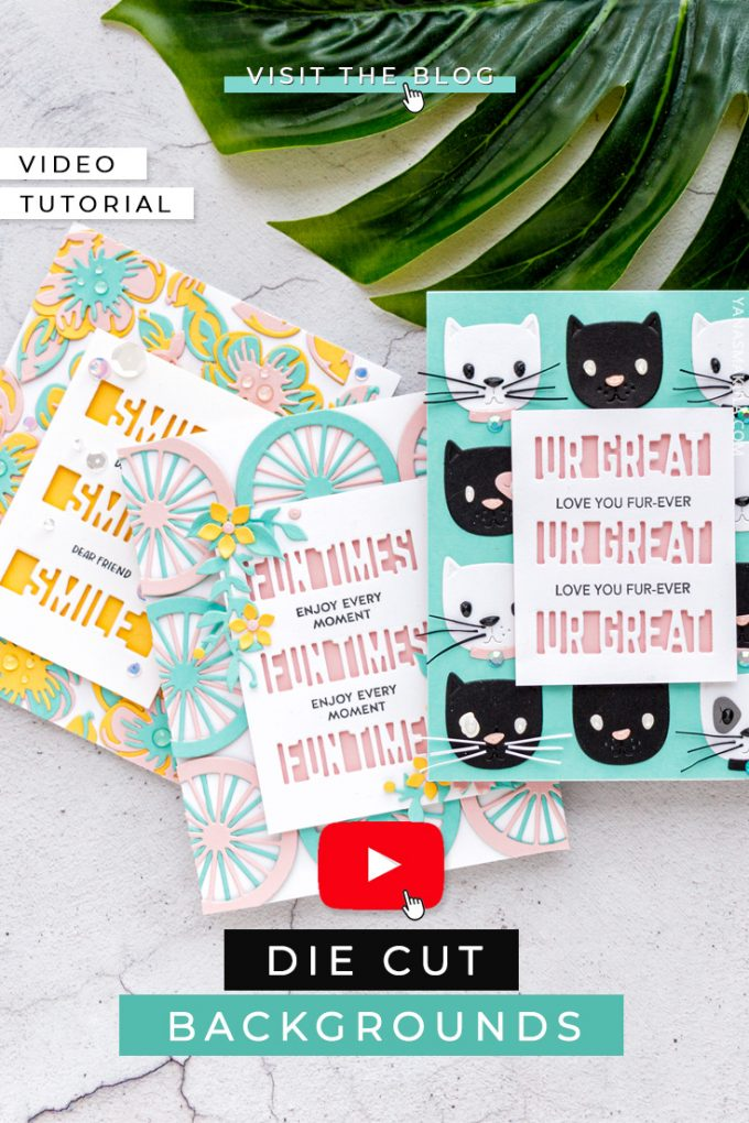 Die Cut Backgrounds with Small Dies - Learn how you can use small dies to create unique and beautiful backgrounds for your handmade cards. Watch the video tutorial for several clever examples. #SpellbindersClubKits #diecutting #neverstopmaking #handmadecards #cardmaking