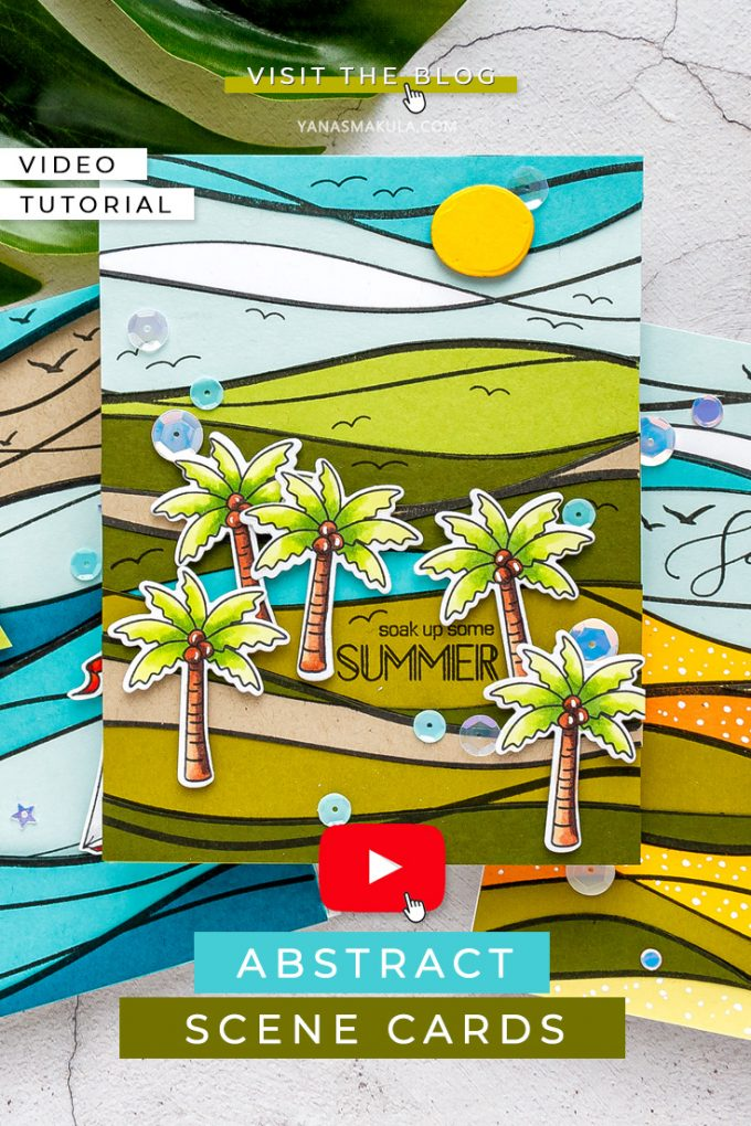 Abstract Scene Cards with Simon Says Stamp Waves Background Stamp. Color with Paper technique using colored cardstock. Watch video tutorial for the how-to. #cardmaking #stamping #papercrafting