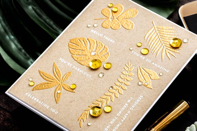 Simon Says Stamp | Gold Embossed Tropics Card. Video tutorial by Yana Smakula featuring Tropical Leaves and Tiny Sentiments #cardmaking #stamping #simonsaysstamp