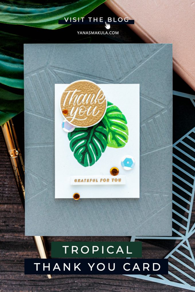 Simon Says Stamp | Modern Tropical Thank You Card by Yana Smakula featuring Simon Says Stamp Stencil FACETED STRIPES ssst121445 and Simon Says Clear Stamps GREETINGS MIX 1 sss201997