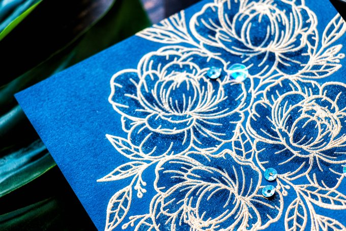 Gina K. Designs & Hero Arts   Easy One Layer Floral Card with Minimal Coloring
