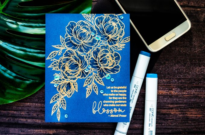 Gina K. Designs & Hero Arts | Easy One Layer Floral Card with Minimal Coloring