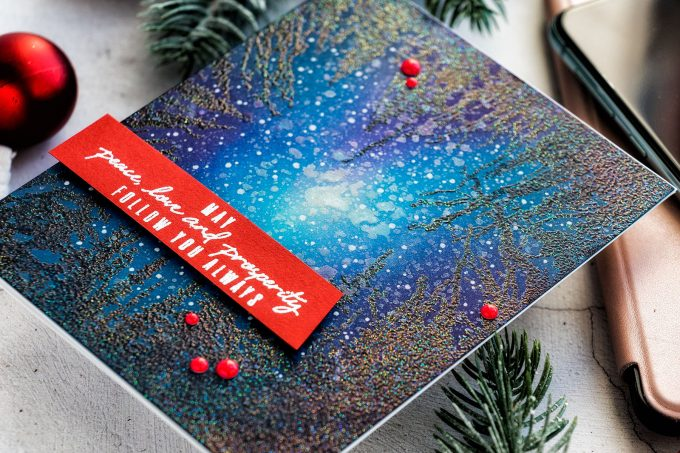 How-to: Night Sky / Galaxy Card Tutorial with Hero Arts Cathedral of Trees Bold Prints Stamp. Video tutorial by Yana Smakula