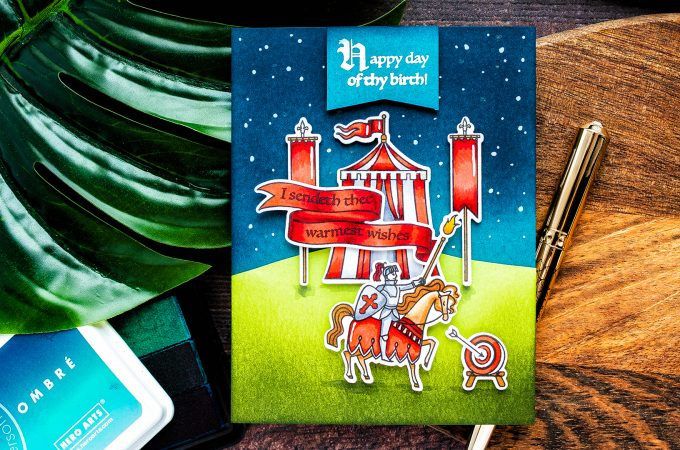 Hero Arts | Knightly Birthday Card. August 2019 My Monthly Hero Kit