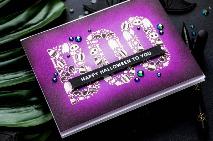 Pretty Pink Posh | Boo! Happy Halloween To You - Modern Halloween Card by Yana Smakula #cardmaking #stamping #prettypinkposh