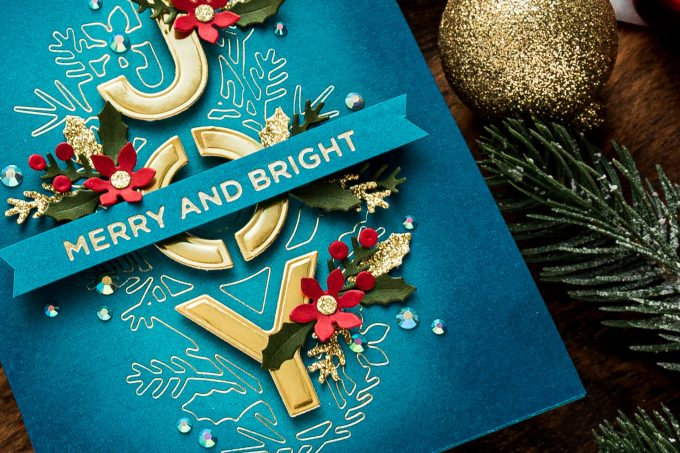 Spellbinders | Glimmer Hot Foiling with Etched Dies - Christmas Joy Card tutorial by Yana Smakula