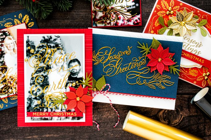 Spellbinders | Glimmer Hot Foil Holiday Cards How To. Video tutorial by Yana Smakula #hotfoilstamping #christmascard #photocards