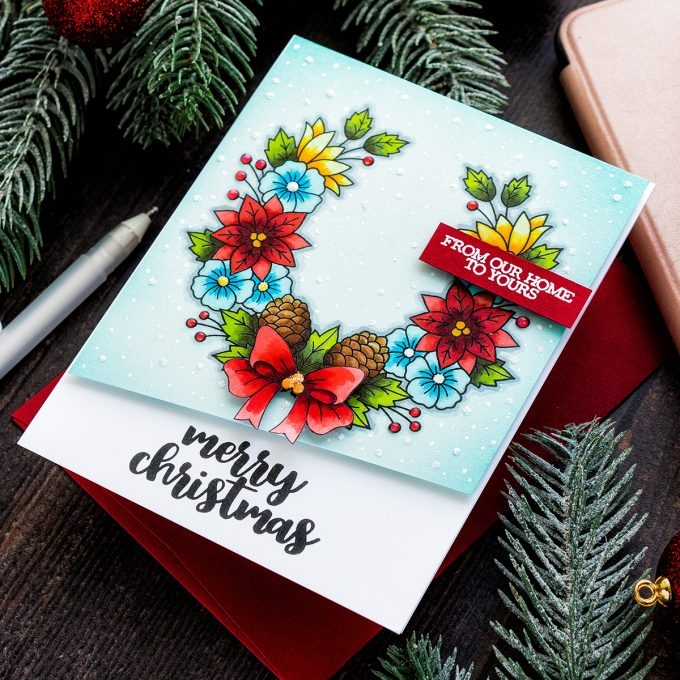 STAMPtember - Clearly Besotted Exclusive | Copic Colored Christmas Card. Video