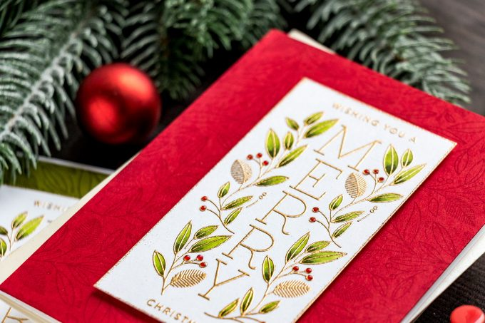 Simon Says Stamp | Cheer & Joy Release. Modern Christmas Cards. Video tutorial by Yana Smakula featuring SSS202037 Holiday Greetings Mix 1 and SSS102039 Leaves and Berries stamps #simonsaysstamp #cardmaking #christmascard