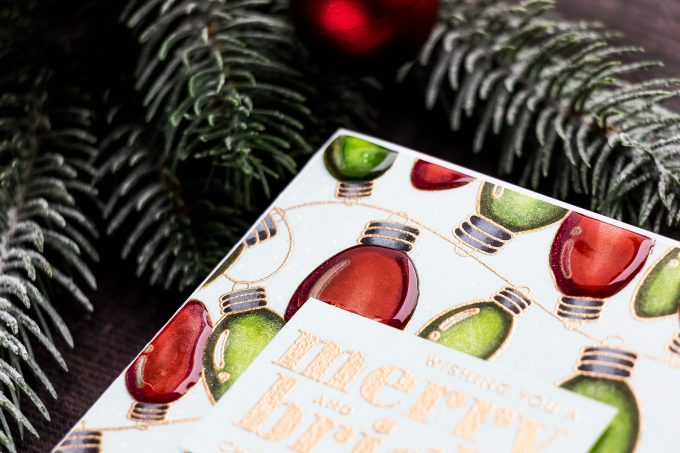 Simon Says Stamp | Christmas Bulbs Card. Cheer & Joy Release. Handmade Greeting Card by Yana Smakula featuring SSS102042 Outline Christmas Bulbs and SSS202037 Holiday Greetings Mix 1 stamps
