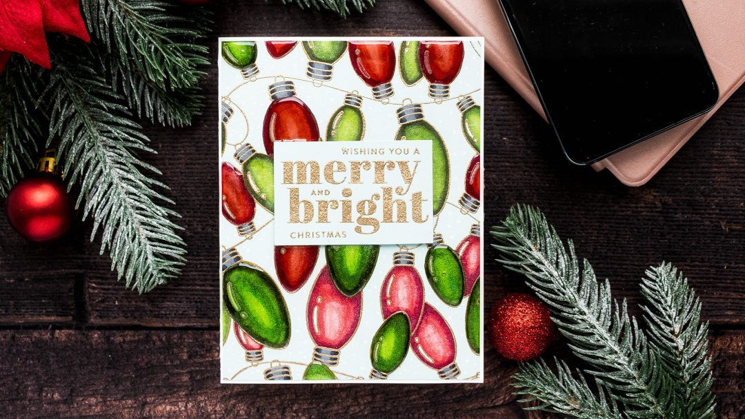 Simon Says Stamp | Christmas Bulbs Card. Cheer & Joy Release. Handmade Greeting Card by Yana Smakula featuring SSS102042 Outline Christmas Bulbs and SSS202037 Holiday Greetings Mix 1 stamps