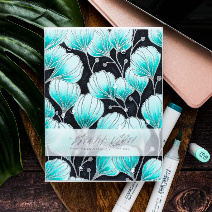 Simon Says Stamp | Using Colored Cardstock for Coloring - Floral Thank You card featuring Simon Says Cling Stamp Flora Background. Video Tutorial by Yana Smakula #simonsaysstamp #cardmaking #stamping #copiccoloring