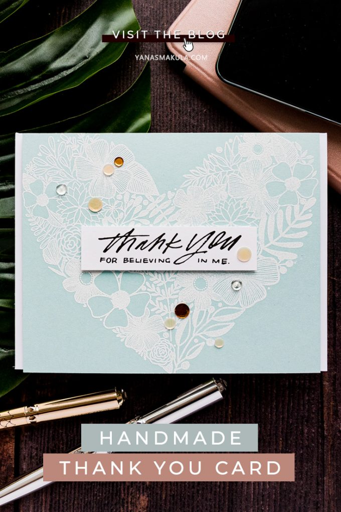 Simon Says Stamp | Thank You Made With Love - Handmade card by Yana Smakula featuring FLORAL HEART sss202032 and SCHOOL DAYS GROW sss102017 stamps #simonsaysstamp