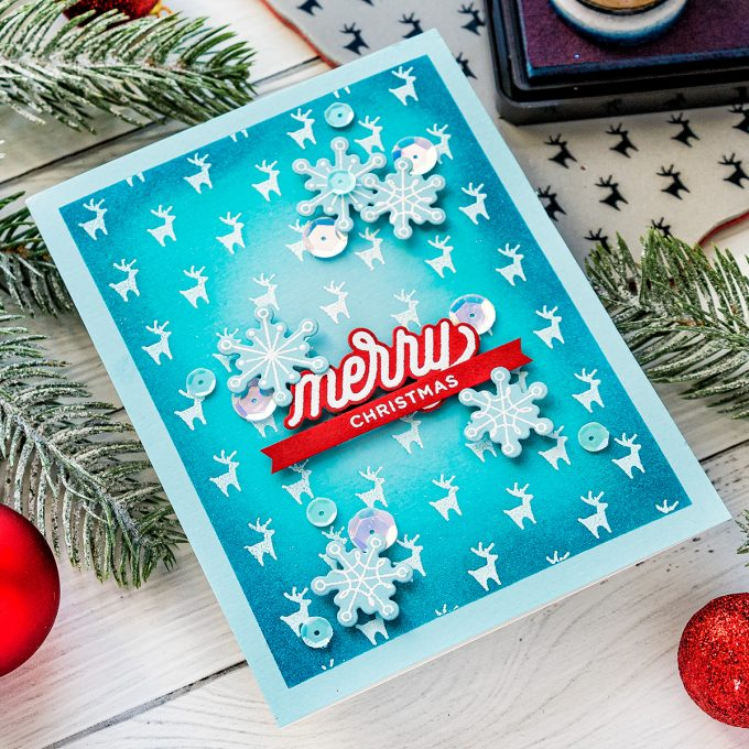 Simon Says Stamp | Teal & Red Christmas Card featuring REINDEER BACKGROUND cz44 and ORNAMENTAL CZ26 #simonsaysstamp #cardmaking #christmascard