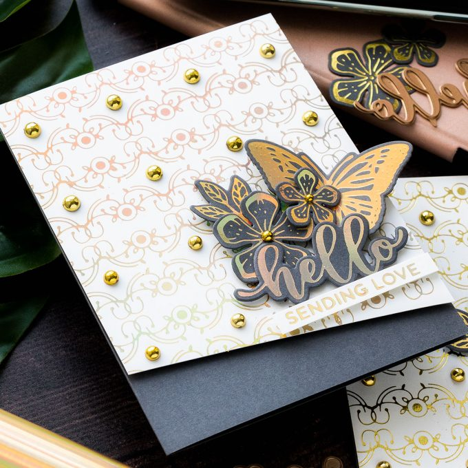 Everyday Foiled Glimmer Cards - More Tips, Tricks & Ideas. Video tutorial by Yana Smakula featuring Spellbinders GLP-141 Glimmering Butterflies Glimmer Hot Foil Plate, GLP-142 Glimmering Layered Flowers Glimmer Hot Foil Plate & Die Set, GLP-143 Hello Dear Friend Glimmer Hot Foil Plate & Die Set