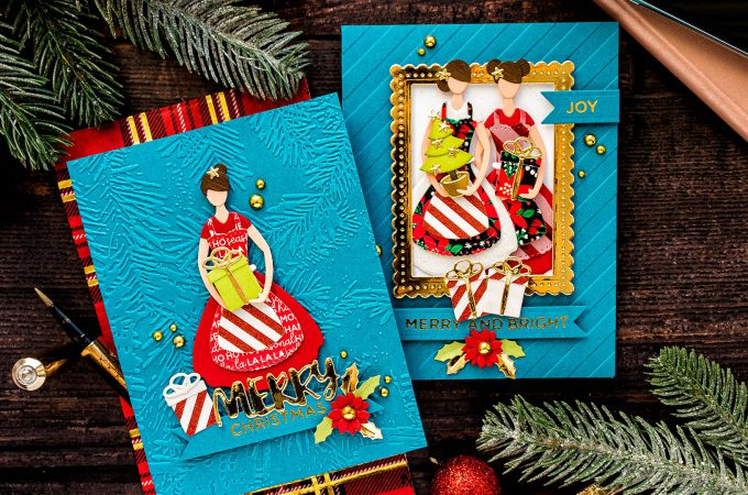 Spellbinders | Die Cut Christmas Cards with October Small Die of the Month - Home For The Holidays. Video tutorial by Yana Smakula #cardmaking #SpellbindersClubKits #Christmascard