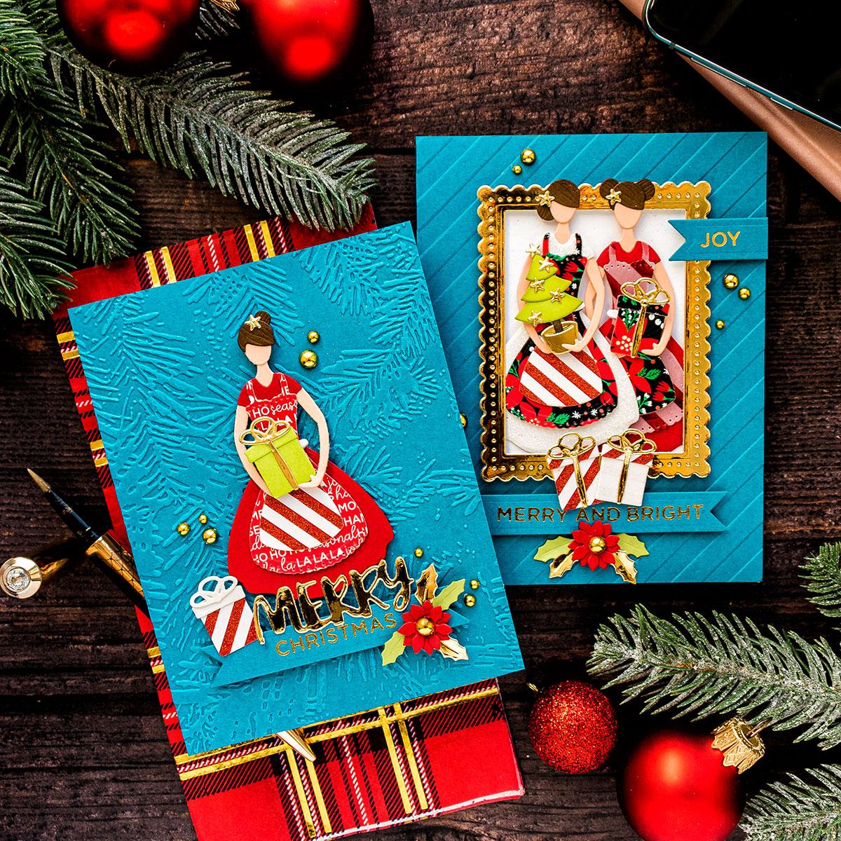 spellbinders  die cut christmas cards with october small